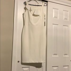 Sleeveless Sheath w/Flounce Dress, Cream